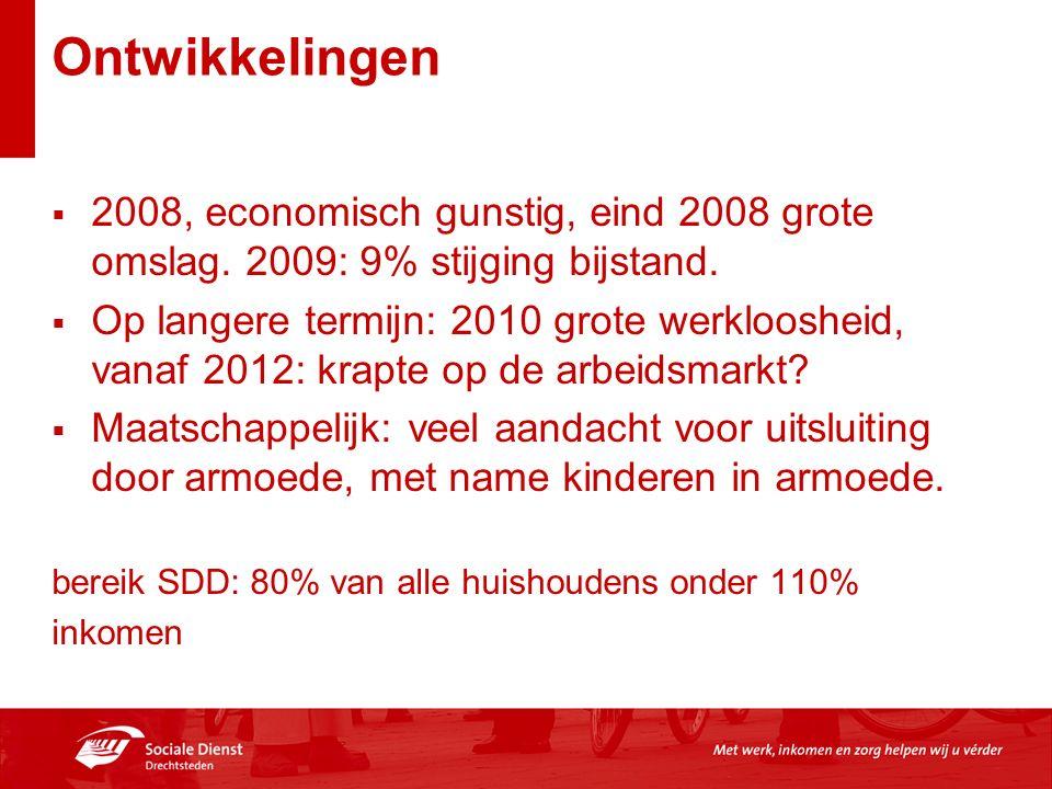 Ontwikkelingen  2008, economisch gunstig, eind 2008 grote omslag. 2009: 9% stijging bijstand.  Op langere termijn: 2010 grote werkloosheid, vanaf 20