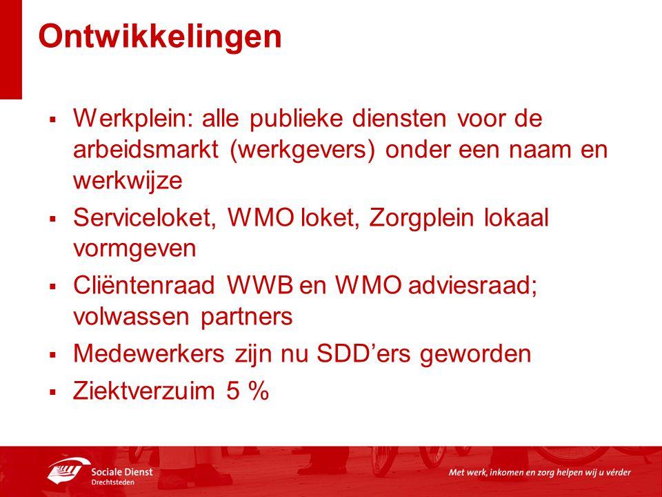 Ontwikkelingen  Werkplein: alle publieke diensten voor de arbeidsmarkt (werkgevers) onder een naam en werkwijze  Serviceloket, WMO loket, Zorgplein