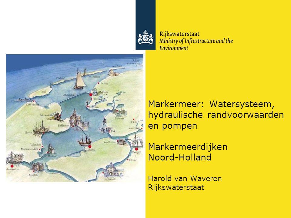 Aan- en afvoerroutes (maximum debieten) van water rond het Markermeer 9595 100 260 40 +neerslag: 10 mm/dag = 100 m3/s 57 59 630 Totaal gemalen + neerslag: 400 m3/s
