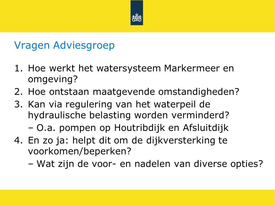 Vragen Adviesgroep 1.Hoe werkt het watersysteem Markermeer en omgeving? 2.Hoe ontstaan maatgevende omstandigheden? 3.Kan via regulering van het waterp