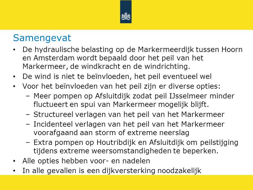 Samengevat De hydraulische belasting op de Markermeerdijk tussen Hoorn en Amsterdam wordt bepaald door het peil van het Markermeer, de windkracht en d