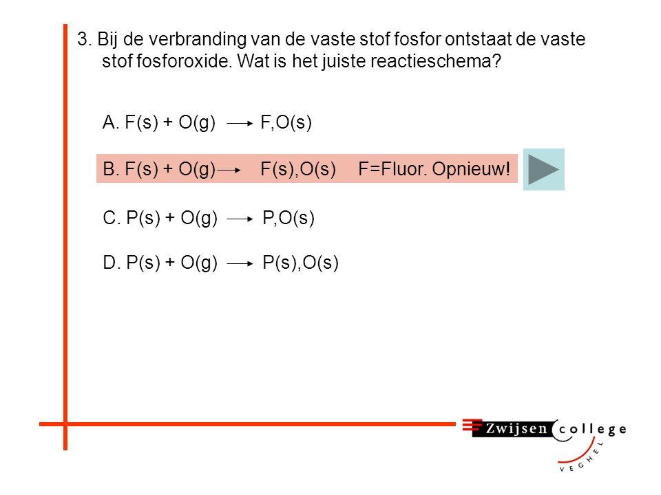 3.Bij de verbranding van de vaste stof fosfor ontstaat de vaste stof fosforoxide.