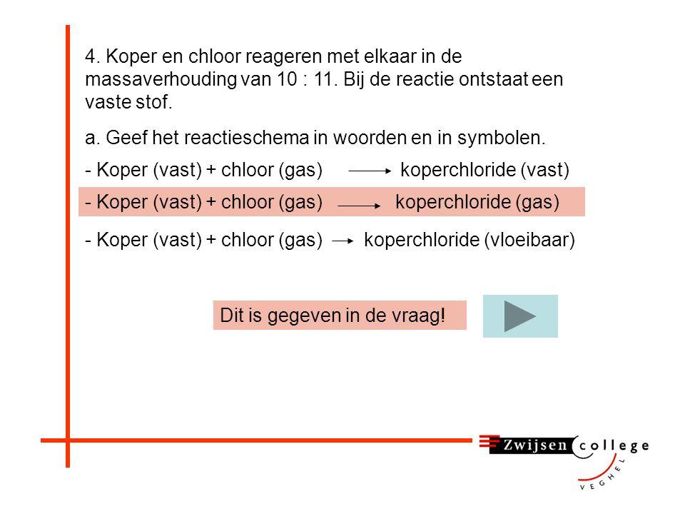 4.Koper en chloor reageren met elkaar in de massaverhouding van 10 : 11.