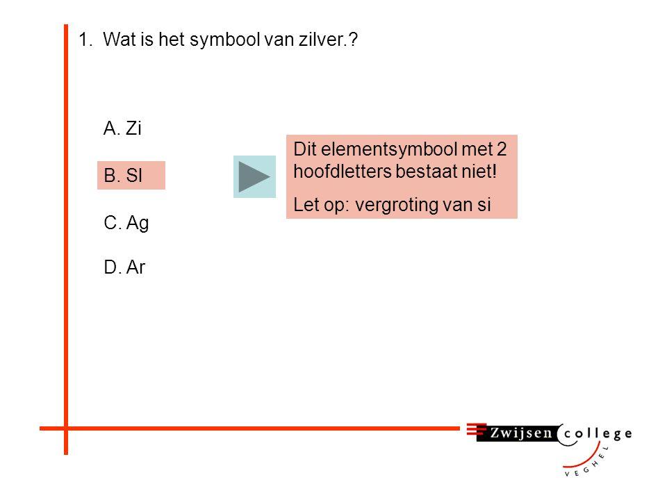 1.Wat is het symbool van zilver..A. Zi B. Sl C. Ag D.
