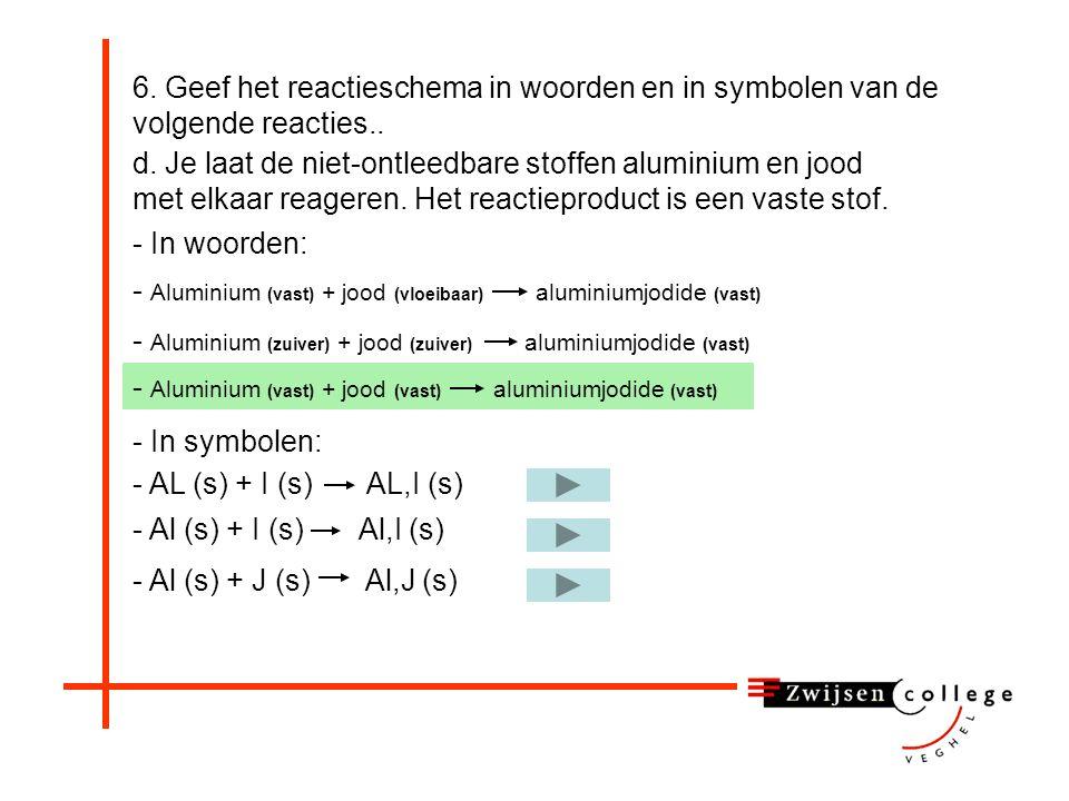 - Aluminium (zuiver) + jood (zuiver) aluminiumjodide (vast) 6.