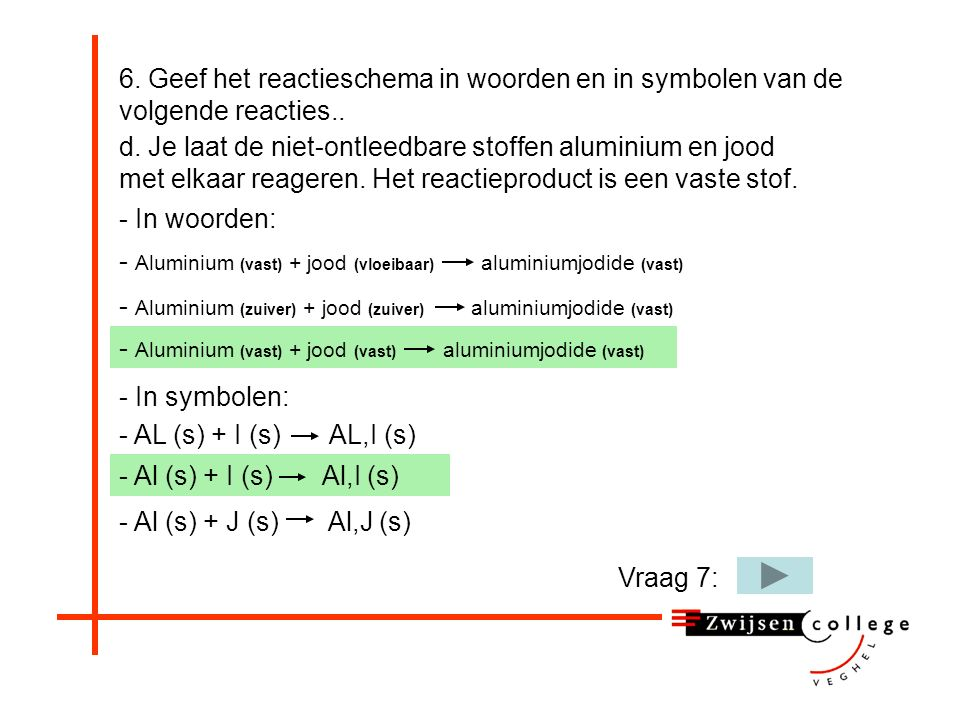 - Aluminium (vast) + jood (vast) aluminiumjodide (vast) 6.