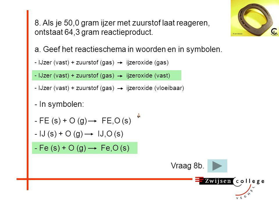 - IJ (s) + O (g) IJ,O (s) - IJzer (vast) + zuurstof (gas) ijzeroxide (vast) 8.