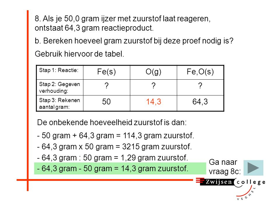 - 64,3 gram : 50 gram = 1,29 gram zuurstof.b.