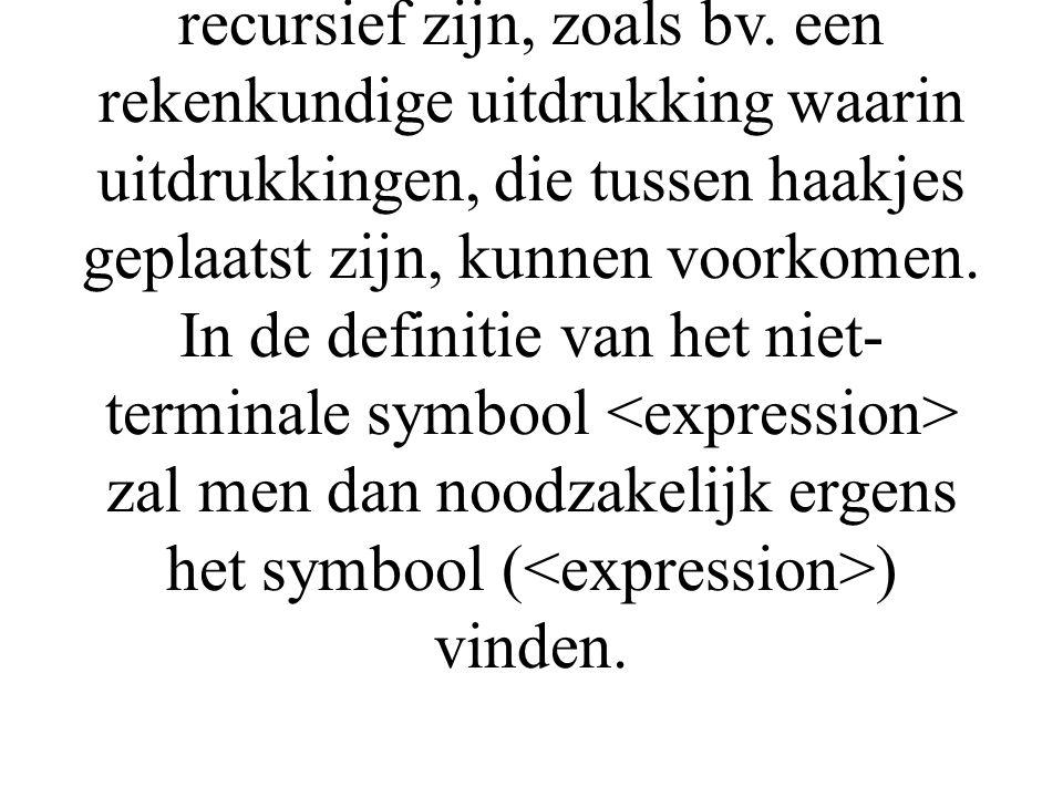 Het invoeren van de [] en {} operatoren laat niet toe alle recursiviteit uit de definitie van de syntax van een programmeertaal te halen.