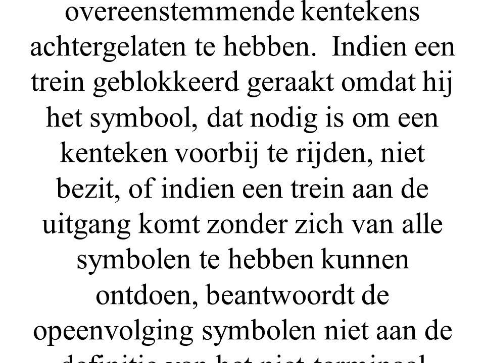Om na te gaan of een bepaalde opeenvolging van symbolen een niet-terminaal symbool is moet een trein die de opeenvolging vervoert door het overeenstemmend syntax diagram rijden: de trein vertrekt van het vertrekpunt en moet de aankomst bereiken, na alle symbolen, in de juiste volgorde, aan de overeenstemmende kentekens achtergelaten te hebben.