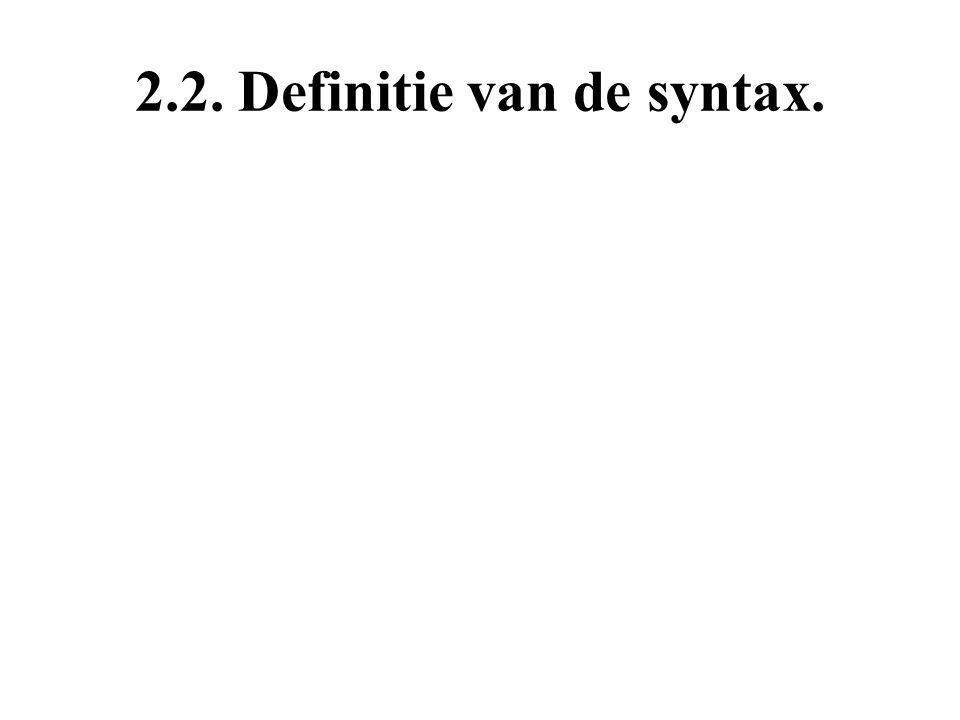 2.2. Definitie van de syntax.