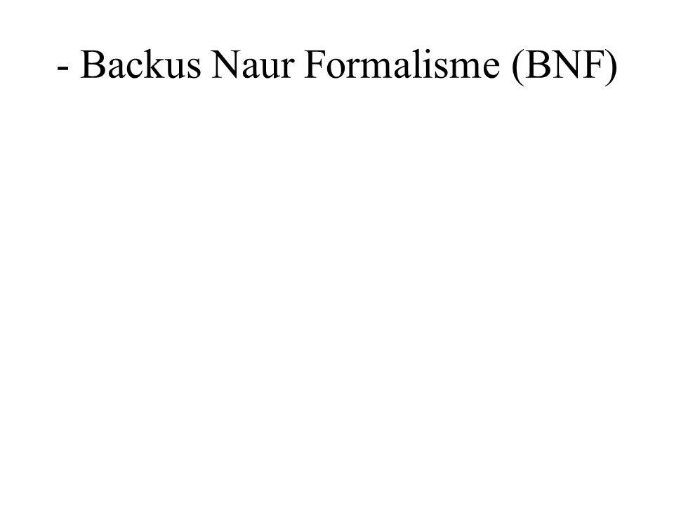 - Backus Naur Formalisme (BNF)
