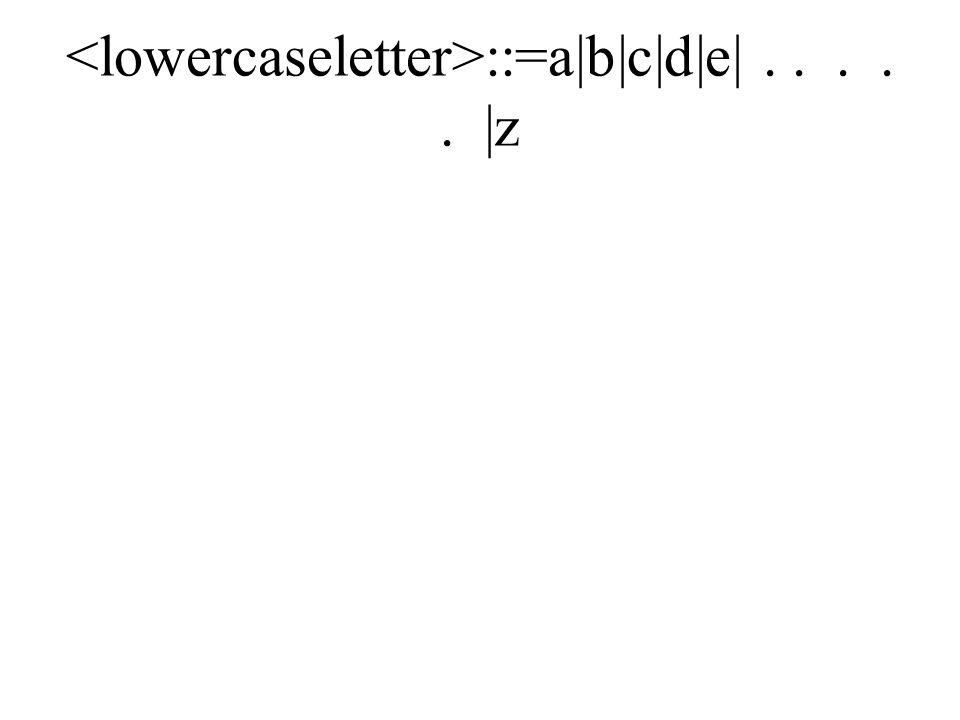 ::=a|b|c|d|e|..... |z