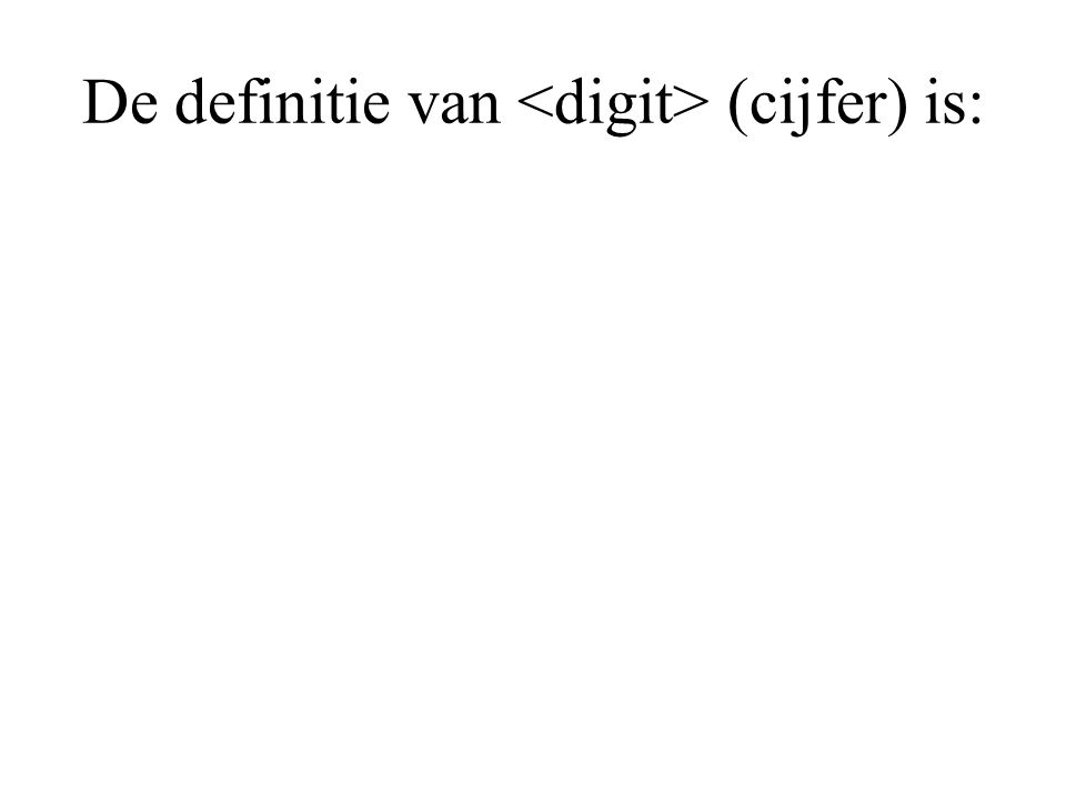 De definitie van (cijfer) is: