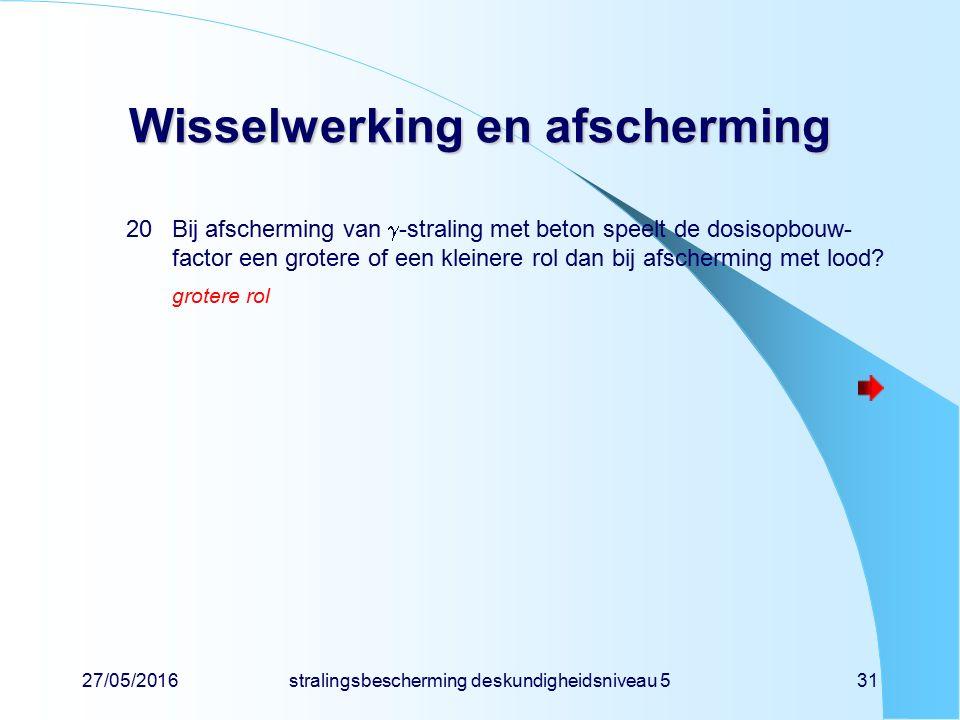 27/05/2016stralingsbescherming deskundigheidsniveau 531 Wisselwerking en afscherming 20Bij afscherming van  -straling met beton speelt de dosisopbouw