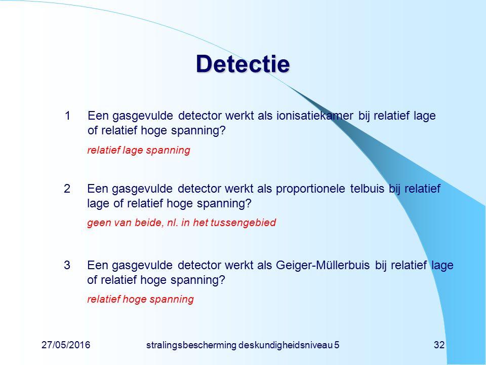27/05/2016stralingsbescherming deskundigheidsniveau 532 Detectie 1Een gasgevulde detector werkt als ionisatiekamer bij relatief lage of relatief hoge