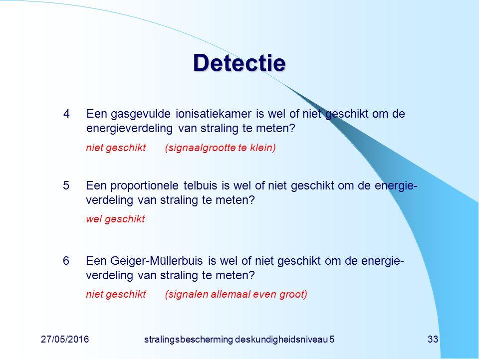 27/05/2016stralingsbescherming deskundigheidsniveau 533 Detectie 4Een gasgevulde ionisatiekamer is wel of niet geschikt om de energieverdeling van str
