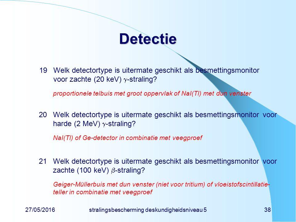 27/05/2016stralingsbescherming deskundigheidsniveau 538 Detectie 19Welk detectortype is uitermate geschikt als besmettingsmonitor voor zachte (20 keV)