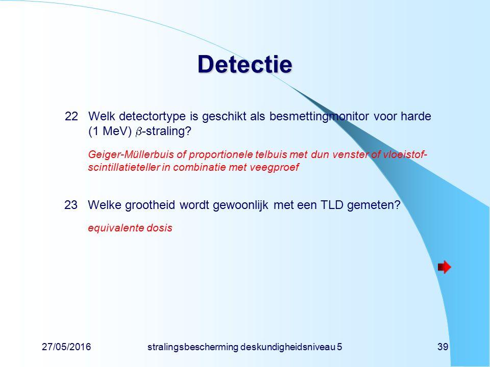 27/05/2016stralingsbescherming deskundigheidsniveau 539 Detectie 22Welk detectortype is geschikt als besmettingmonitor voor harde (1 MeV)  -straling?