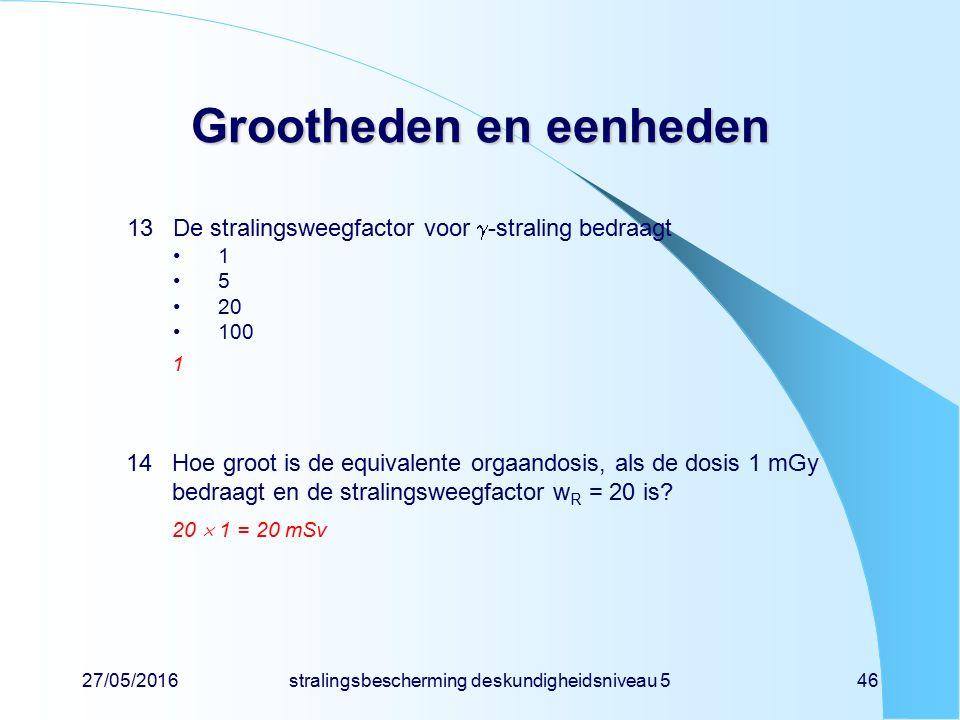 27/05/2016stralingsbescherming deskundigheidsniveau 546 Grootheden en eenheden 13De stralingsweegfactor voor  -straling bedraagt 1 5 20 100 1 14Hoe g