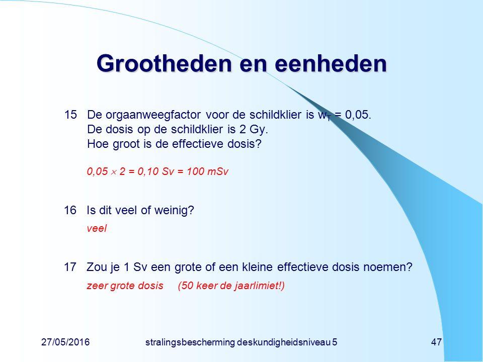 27/05/2016stralingsbescherming deskundigheidsniveau 547 Grootheden en eenheden 15De orgaanweegfactor voor de schildklier is w T = 0,05. De dosis op de