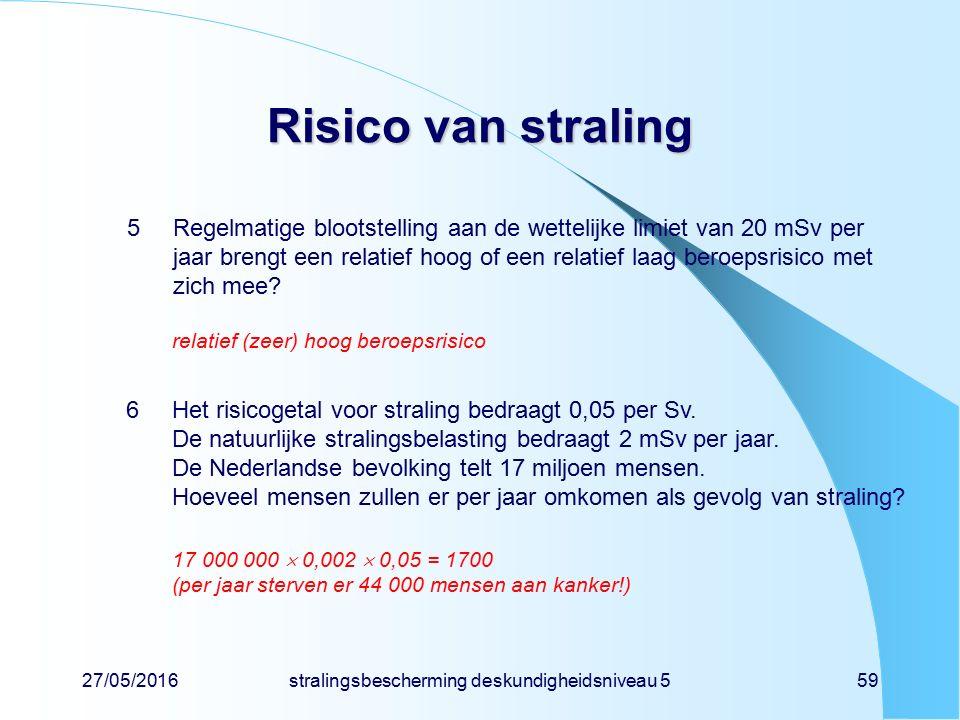 27/05/2016stralingsbescherming deskundigheidsniveau 559 Risico van straling 5Regelmatige blootstelling aan de wettelijke limiet van 20 mSv per jaar br