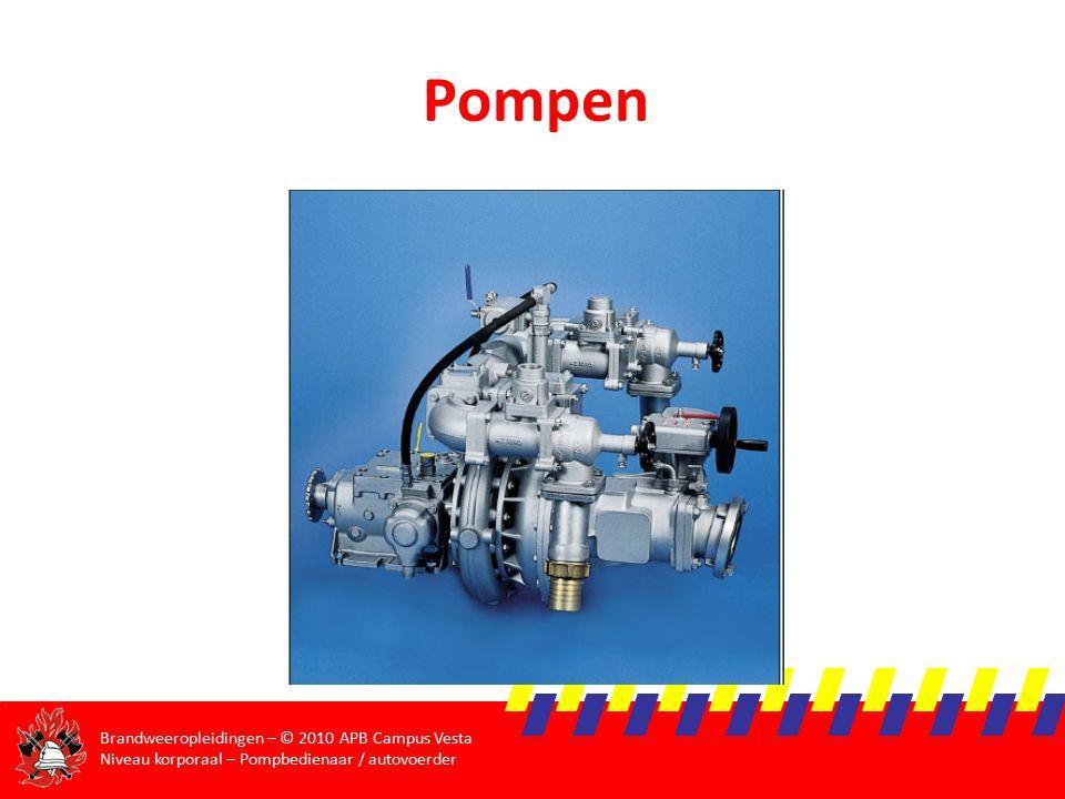 Brandweeropleidingen – © 2010 APB Campus Vesta Niveau korporaal – Pompbedienaar / autovoerder Hydrostatische druk  Druk in een horizontaal vlak is overal gelijk  P hyd = ρ.g.h