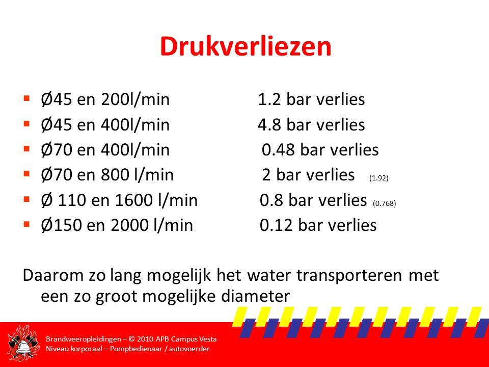 Brandweeropleidingen – © 2010 APB Campus Vesta Niveau korporaal – Pompbedienaar / autovoerder Drukverliezen  Ø45 en 200l/min 1.2 bar verlies  Ø45 en 400l/min 4.8 bar verlies  Ø70 en 400l/min 0.48 bar verlies  Ø70 en 800 l/min 2 bar verlies (1.92)  Ø 110 en 1600 l/min 0.8 bar verlies (0.768)  Ø150 en 2000 l/min 0.12 bar verlies Daarom zo lang mogelijk het water transporteren met een zo groot mogelijke diameter