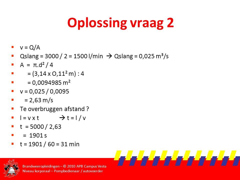 Brandweeropleidingen – © 2010 APB Campus Vesta Niveau korporaal – Pompbedienaar / autovoerder Oplossing vraag 2  v = Q/A  Qslang = 3000 / 2 = 1500 l/min  Qslang = 0,025 m³/s  A = π.d² / 4  = (3,14 x O,11² m) : 4  = 0,0094985 m²  v = 0,025 / 0,0095  = 2,63 m/s  Te overbruggen afstand .