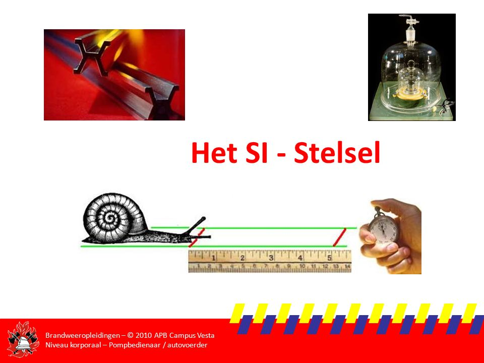 Brandweeropleidingen – © 2010 APB Campus Vesta Niveau korporaal – Pompbedienaar / autovoerder Oefeningen  Welk debiet (in liter per minuut) vloeit er door een brandweerslang met diameter 150mm, indien de snelheid van het water 12,6 km/h is.