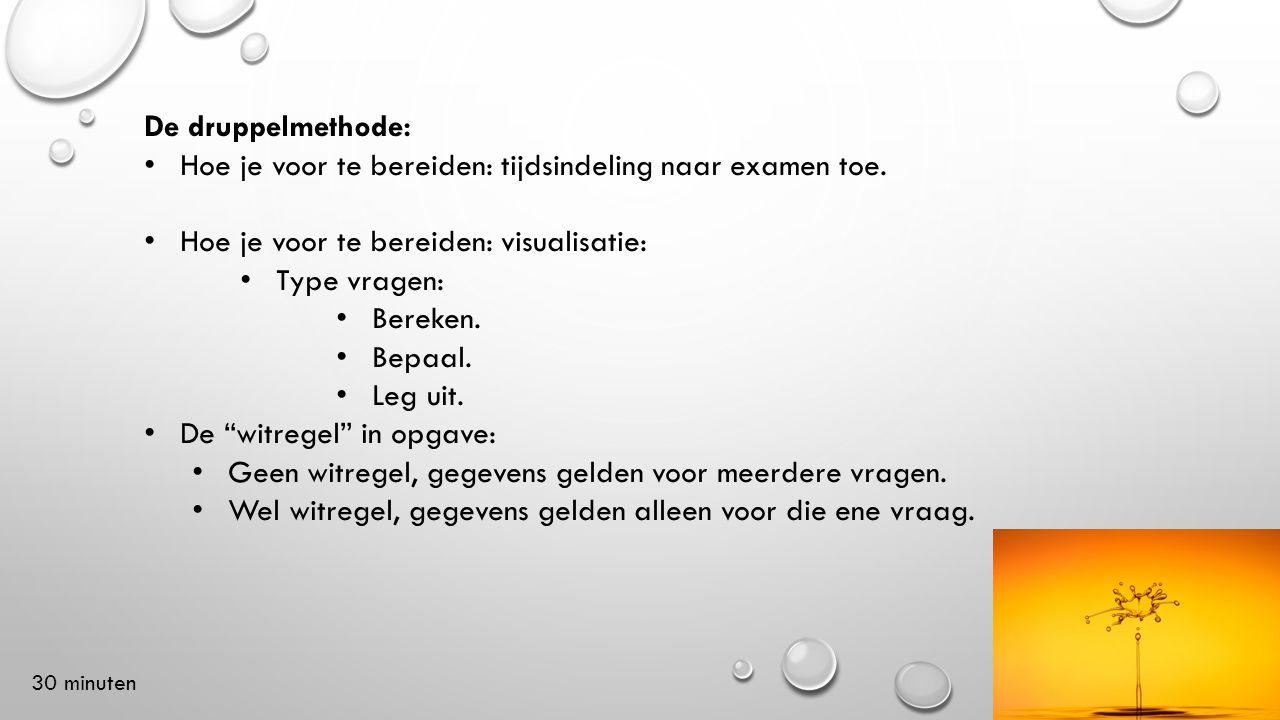 De druppelmethode: Hoe je voor te bereiden: tijdsindeling naar examen toe. Hoe je voor te bereiden: visualisatie: Type vragen: Bereken. Bepaal. Leg ui
