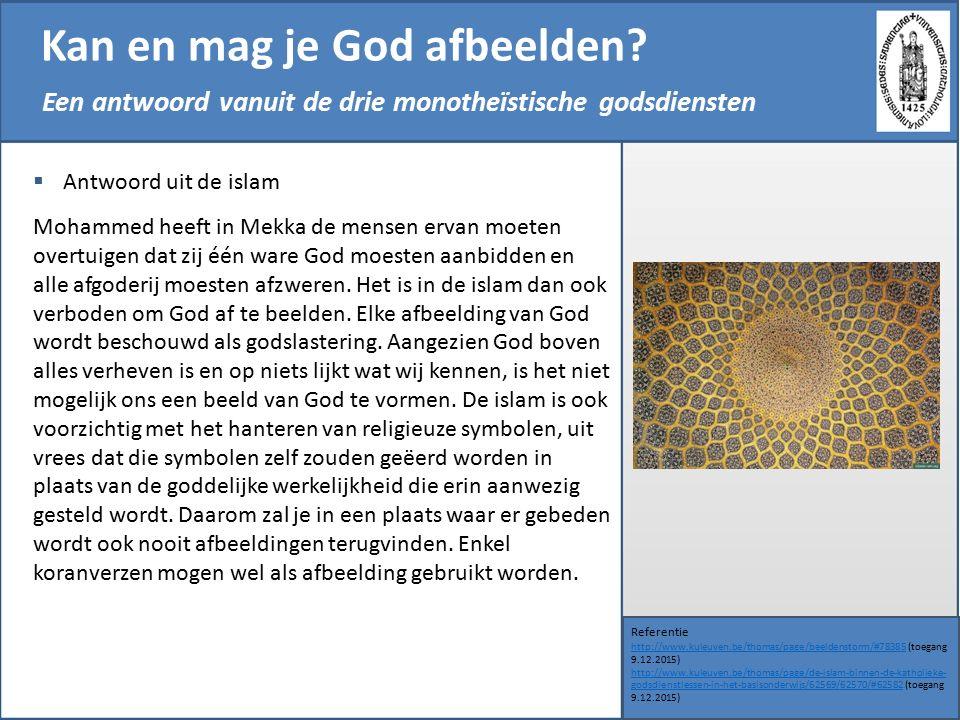 Kan en mag je God afbeelden? Referentie http://www.kuleuven.be/thomas/page/beeldenstorm/#78385http://www.kuleuven.be/thomas/page/beeldenstorm/#78385 (