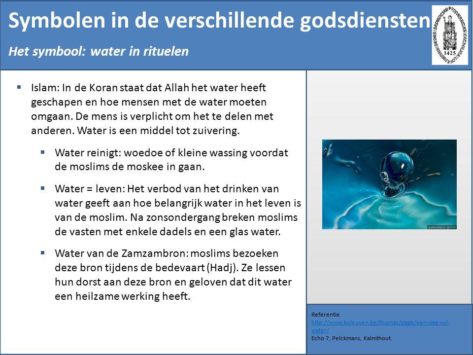 Symbolen in de verschillende godsdiensten Referentie http://www.kuleuven.be/thomas/page/een-dag-vol- water/ Echo 7, Pelckmans, Kalmthout.
