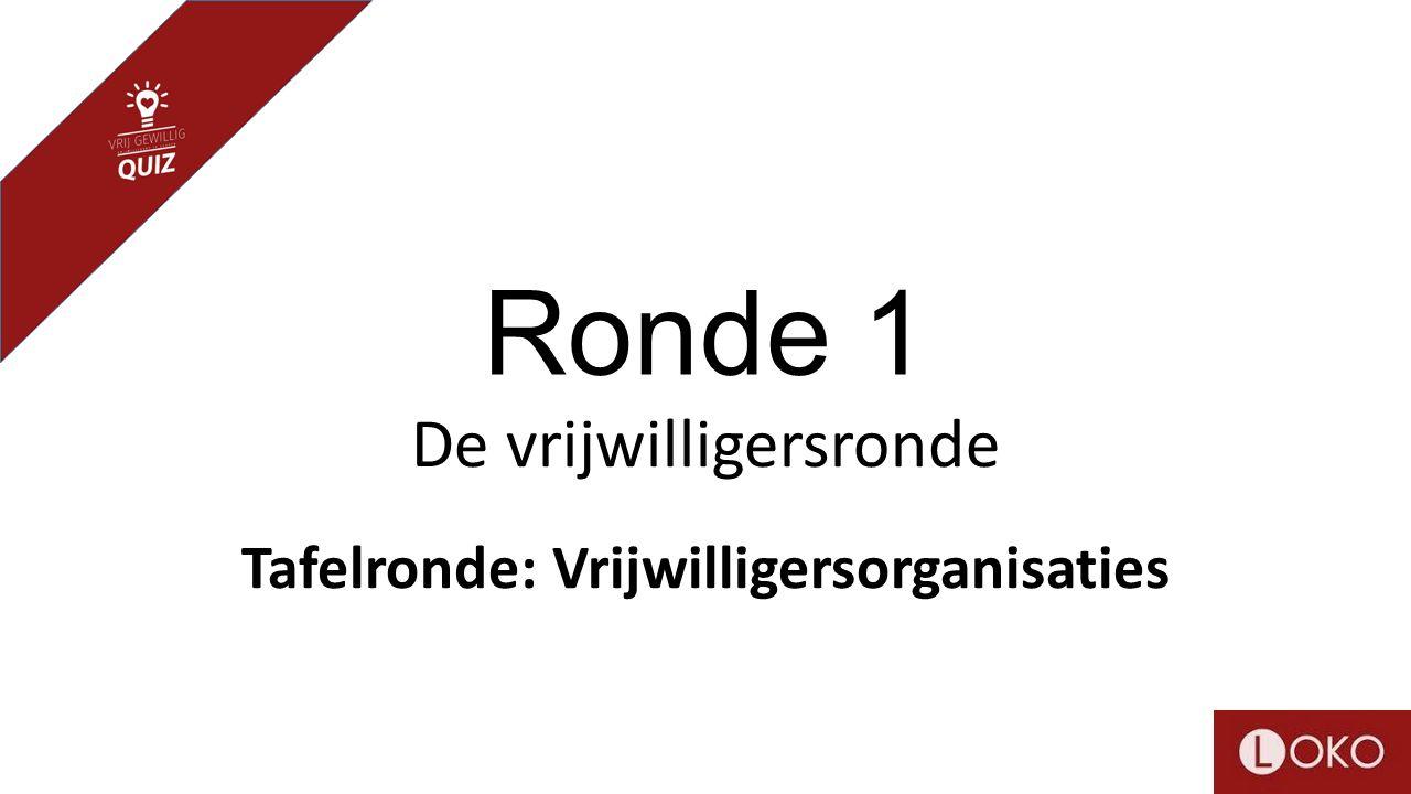 Ronde 1 De vrijwilligersronde Tafelronde: Vrijwilligersorganisaties