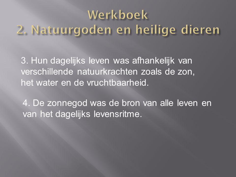 3. Hun dagelijks leven was afhankelijk van verschillende natuurkrachten zoals de zon, het water en de vruchtbaarheid. 4. De zonnegod was de bron van a