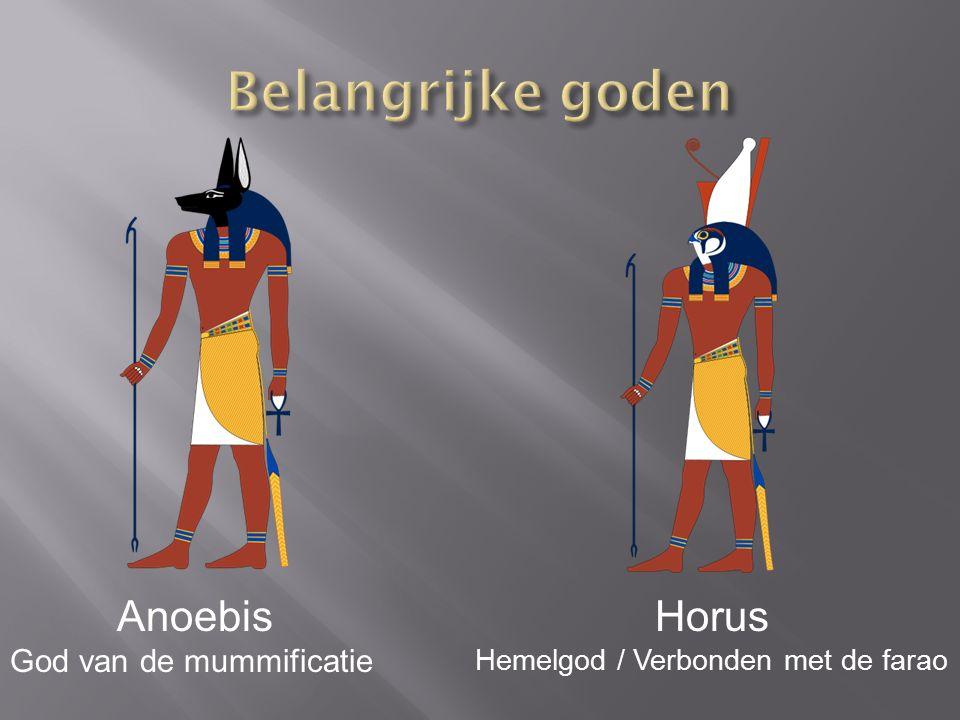 Anoebis God van de mummificatie Horus Hemelgod / Verbonden met de farao