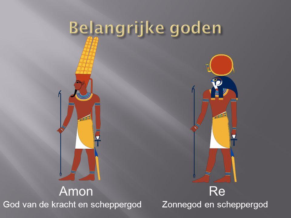 Amon God van de kracht en scheppergod Re Zonnegod en scheppergod