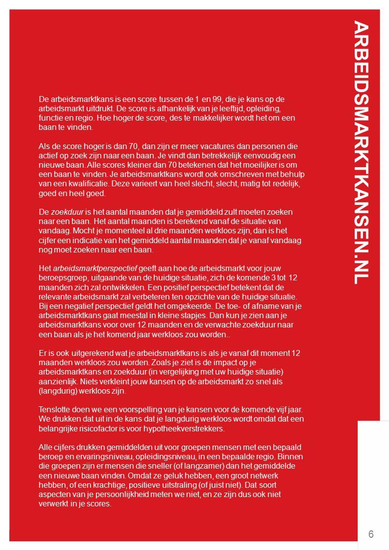 ARBEIDSMARKTKANSEN.NL 6 De arbeidsmarktkans is een score tussen de 1 en 99, die je kans op de arbeidsmarkt uitdrukt.