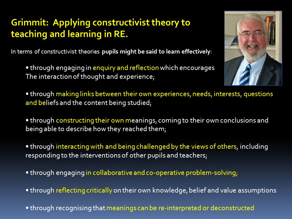 Grimmit: Applying constructivist theory to teaching and learning in RE. In terms of constructivist theories pupils might be said to learn effectively: