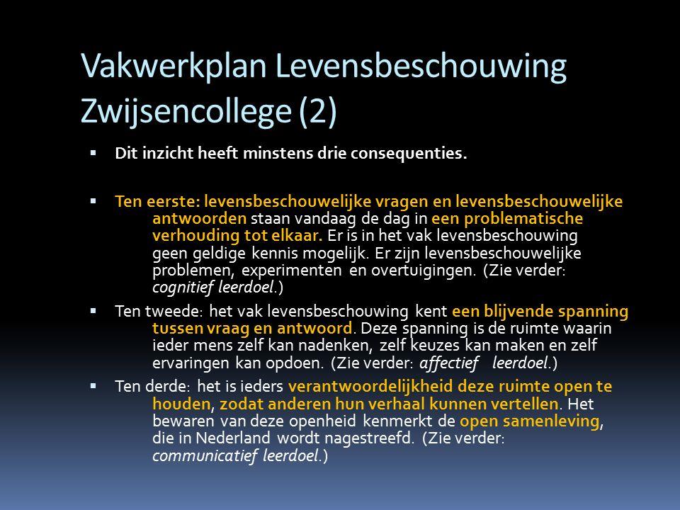 Vakwerkplan Levensbeschouwing Zwijsencollege (2)  Dit inzicht heeft minstens drie consequenties.  Ten eerste: levensbeschouwelijke vragen en levensb