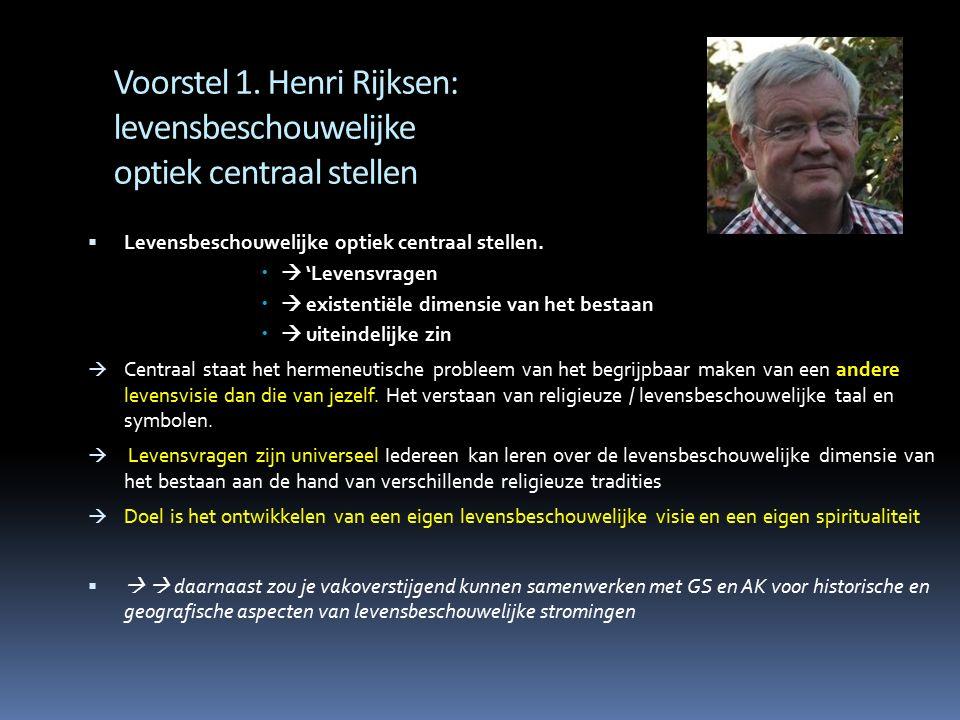 Voorstel 1. Henri Rijksen: levensbeschouwelijke optiek centraal stellen  Levensbeschouwelijke optiek centraal stellen.   'Levensvragen   existent