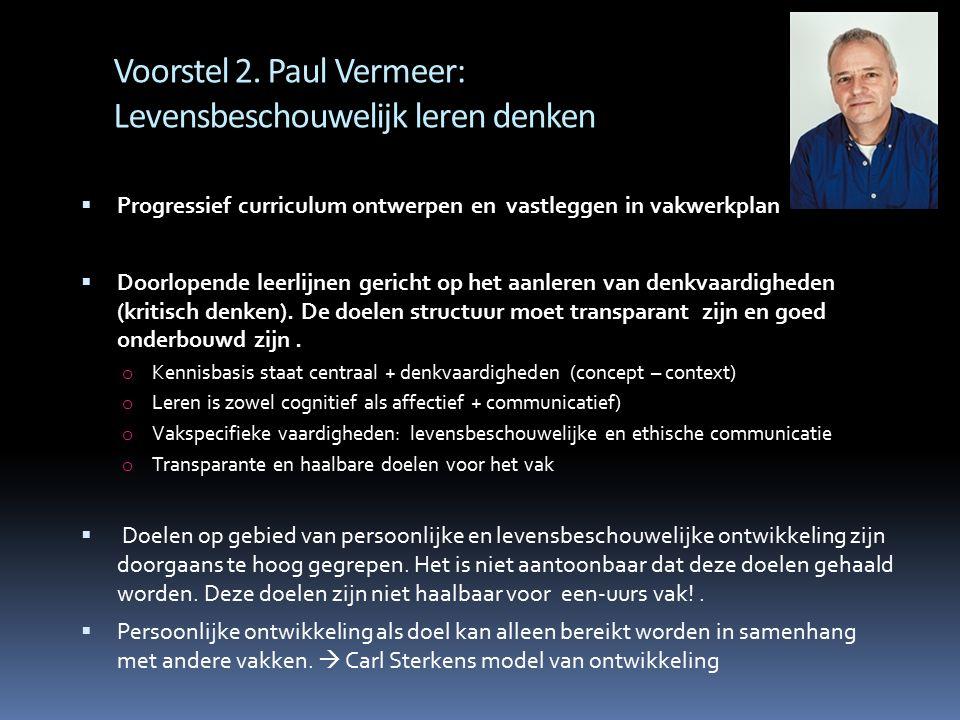 Voorstel 2. Paul Vermeer: Levensbeschouwelijk leren denken  Progressief curriculum ontwerpen en vastleggen in vakwerkplan  Doorlopende leerlijnen ge