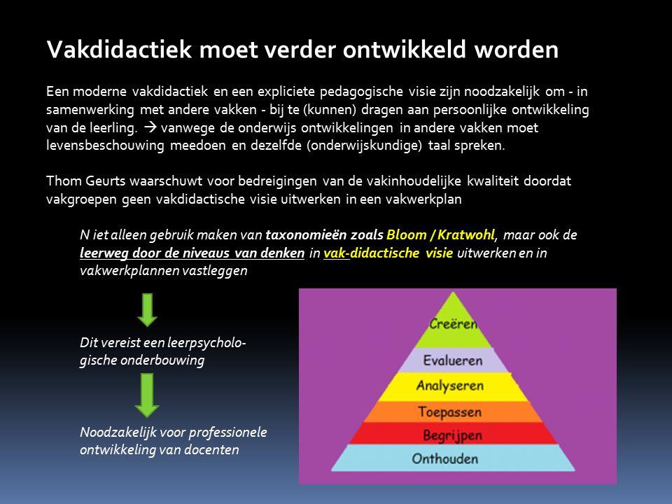 Vakdidactiek moet verder ontwikkeld worden Een moderne vakdidactiek en een expliciete pedagogische visie zijn noodzakelijk om - in samenwerking met an