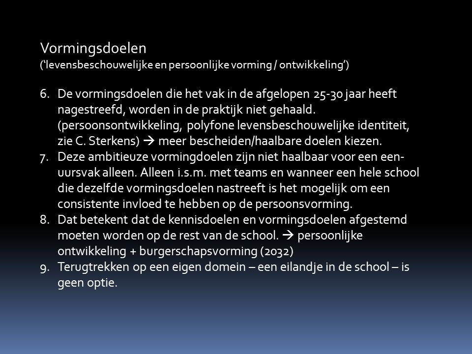 Vakwerkplan Levensbeschouwing Zwijsencollege (2)  Dit inzicht heeft minstens drie consequenties.