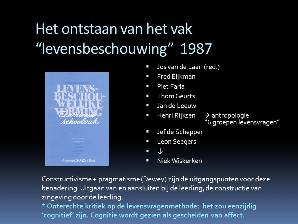 """Het ontstaan van het vak """"levensbeschouwing"""" 1987  Jos van de Laar (red.)  Fred Eijkman  Piet Farla  Thom Geurts  Jan de Leeuw  Henri Rijksen """