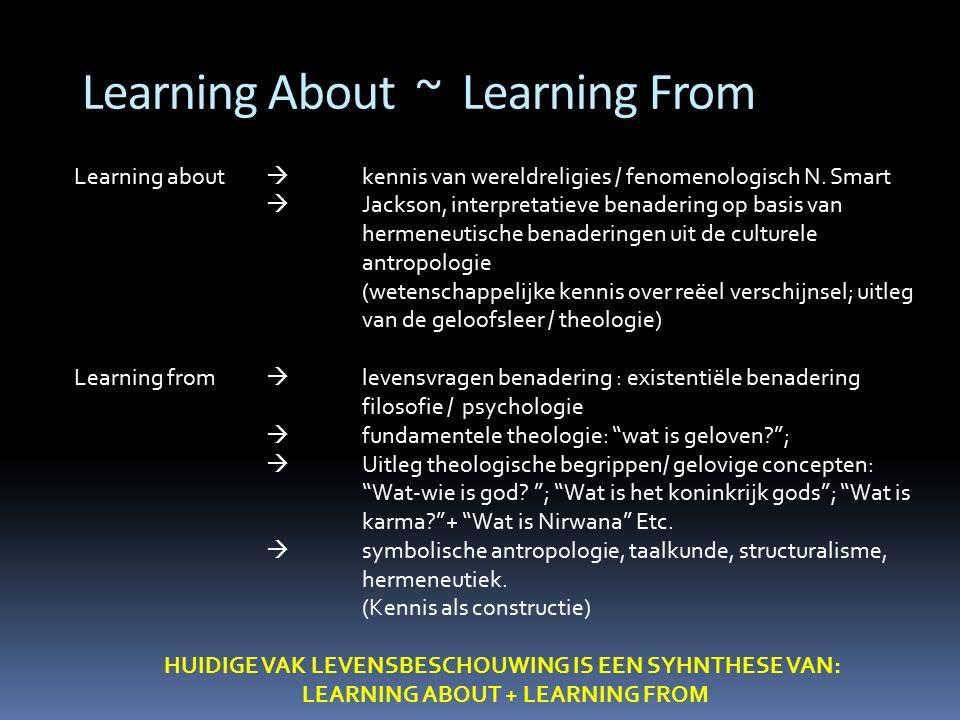 Learning About ~ Learning From Learning about  kennis van wereldreligies / fenomenologisch N. Smart  Jackson, interpretatieve benadering op basis va