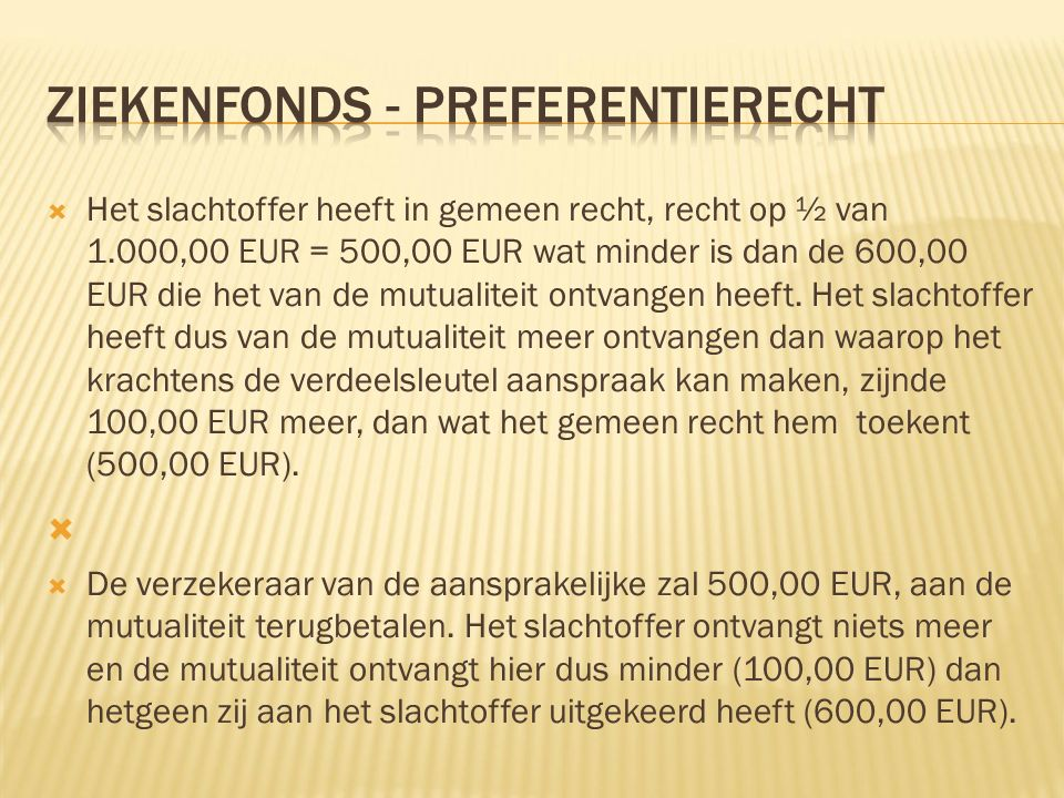  Het slachtoffer heeft in gemeen recht, recht op ½ van 1.000,00 EUR = 500,00 EUR wat minder is dan de 600,00 EUR die het van de mutualiteit ontvangen heeft.