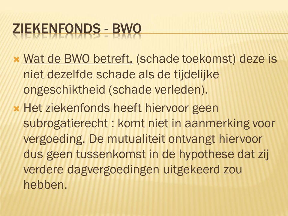  Wat de BWO betreft, (schade toekomst) deze is niet dezelfde schade als de tijdelijke ongeschiktheid (schade verleden).  Het ziekenfonds heeft hierv