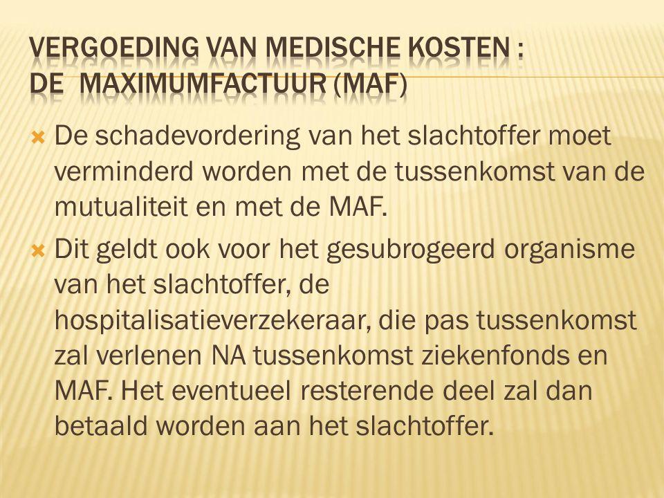  De schadevordering van het slachtoffer moet verminderd worden met de tussenkomst van de mutualiteit en met de MAF.