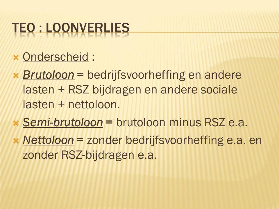  Onderscheid :  Brutoloon = bedrijfsvoorheffing en andere lasten + RSZ bijdragen en andere sociale lasten + nettoloon.